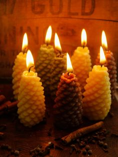 Two Handmade Pure Beeswax Medium Pine Cone by RockyMtnBeeCandles These would be perfect for table decorations or as Christmas gifts. Handmade in Kremmling, Colorado. All Things Christmas, Christmas Gifts, Candle Picture, Candle In The Wind, Rustic Room, Beautiful Candles, Business Products, Beeswax Candles, Candles