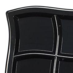 "9.75"" Waves Black Square Plastic Section Plates"