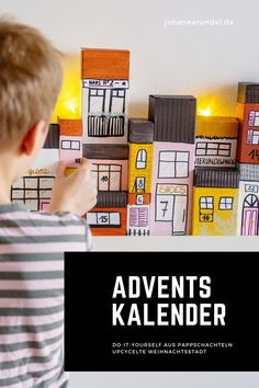 DIY Adventskalender: Häuserzeile aus Verpackungen Magic Gum, Holiday Parties, Cool Stuff, Party, Cool Diy, Decorations, Second Child, Advent Season, Small Gifts