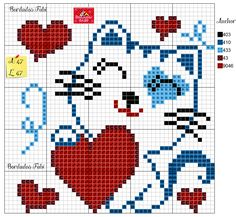 Cat Cross Stitches, Cross Stitch Heart, Cute Cross Stitch, Cross Stitch Fabric, Cross Stitch Alphabet, Cross Stitching, Pixel Pattern, Cat Pattern, Modern Cross Stitch Patterns