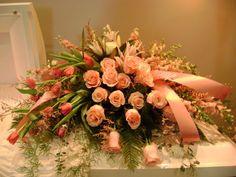 Casket spray - grouped arrangement Casket Flowers, Grave Flowers, Cemetery Flowers, Funeral Flowers, Wedding Flowers, Funeral Floral Arrangements, Flower Arrangements, Funeral Caskets, Funeral Sprays