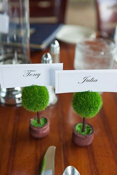 Real Weddings: Julia and Tony's Lake Tahoe Nuptials | Intimate Weddings   **marque-place topiaire**