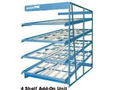 "6 Shelf Carton Flow Rack Adder - 60""W x 120""D x 8'H by Western Pacific. $1633.01. Quik-Pik Carton Flow Rack Add-ons are used in conjunction with ""starter units"" to create continuous rows of interconnected shelving sections. Add-on units utilize the upright of an existing section to provide support thus allowing you to add sections utilizing only 1 upright. Add-on units minimize the cost of adding shelving units to existing carton flow shelving. - - Comes complete with 1 ea. 10..."