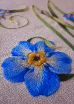 Embroidered Forget-Me-Not (detail) ~ by Elisabetta ricami a mano