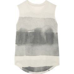 Raquel Allegra Tie-dyed cotton-blend jersey tank ($200) ❤ liked on Polyvore featuring tops, gray tank, tie dye tank, tye dye tank top, grey top and tie dye tank tops
