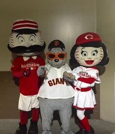 Mr. Redlegs (Cincinnati Reds), Lou Seal (San Francisco Giants) and Rosie Red (Cincinnati Reds).