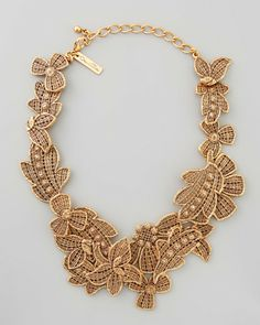 Oscar De La Renta Gold Antiqued Lace Bib Necklace