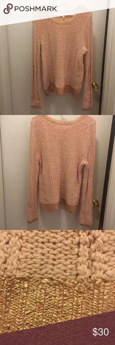 NWOT ANTHROPOLOGIE | Rose Gold Sweater Never worn! Light pink sweater with rose gold knit sweater from Anthropologie. Brand is called Moth. Super cute! So sad to part with it but just a little to big for me. Want to find it a great home! ❤ Anthropologie Sweaters Crew & Scoop Necks