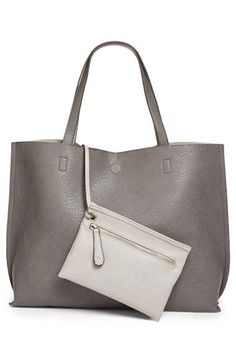 Faux leather reversible tote...cute and affordable.  I'll take one...or a few!