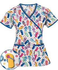 UA Flip Flop Fun White Mock Wrap Scrub Top,  Style# WT668FUW #scrubs, #summerfashion, #flipflop, #nurses