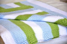 striped stockinette baby blanket