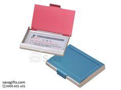 Hộp namecard kim loại in logo bằng nhôm màu đỏ gạch, xanh dương – NK003