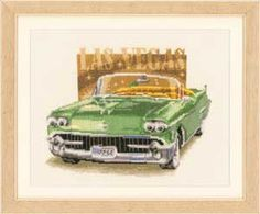 Las Vegas, Classic Cars, counted cross-stitch