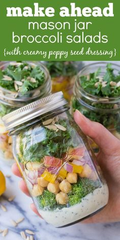 These easy vegetarian Mason Jar Broccoli Salads with Kale and Apple are a yummy make ahead lunch option!   www.kristineskitchenblog.com