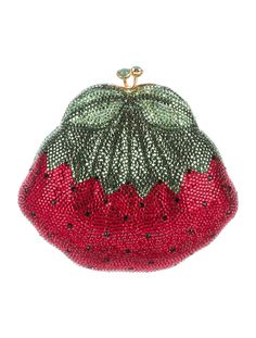 Red and multicolor Judith Leiber Strawberry minaudière with gold-tone hardware, crystal embellishments throughout, metallic gold leather lining, dual interior compartments and kiss-lock closure at top. Includes compact mirror and dust bag. Buy handbags from Judith Leiber at The RealReal.
