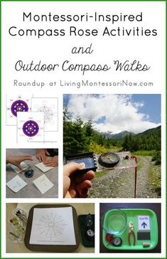 Roundup with free Montessori-Inspired Compass Rose Printables Activities and Outdoor Compass Walks for a variety of ages; part of the Carnival of Natural Parenting with the theme of summer fun