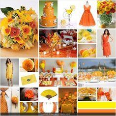 Casamento amarelo e laranja