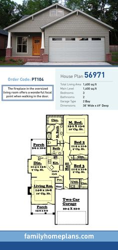House Plan 56971 | Total Living Area: 1600 SQ FT, 3 Bedrooms And 2