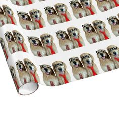 Golden Retriever With Nerd Glasses Gift Wrap by #AugieDoggyStore. Sold to a customer in Belleville, IL