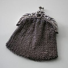 Antique Silver Chainmail Change Purse