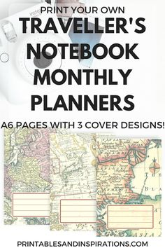 DIY travellers notebook, traveler's notebook, travel planner, free printable planner pages, monthly spread, weekly spread, mini datebook, free monthly planner, printable calendar, Monday start