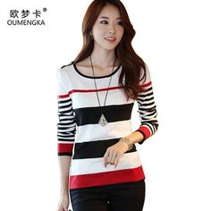 c3356bdd5a OUMENGKA New 2017 Spring Autumn women sweater casual Slim Red Black Stripes  Blue Black Stripes S M L XL bottoming pullover