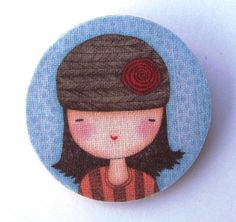 Cute lady with hat and flower wood and fabric Brooch