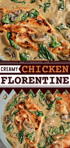 This Chicken Florentine is a delicious recipe for dinner that's healthy and scrumptious! Serve this main dish idea over rice, angel hair pasta, or mashed potatoes. Pin this chicken idea! Top Recipes, Easy Dinner Recipes, Yummy Recipes, Dinner Ideas, Easy Family Meals, Easy Meals, Family Recipes, Thanksgiving Main Dishes, Bacon Mashed Potatoes