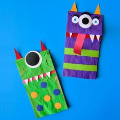 Sit your kid down with brown paper bags, acrylic paints, some colored card stock, scissors, markers, and glue, and let them bring the monsters from their nightmares to life.