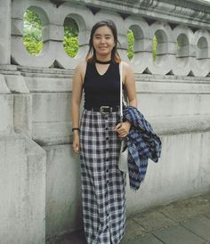 My custom-made maxi plaid skirt styled with western belt.