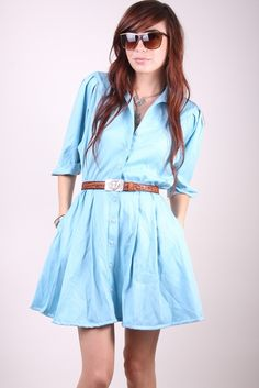e312c88ca029c Vintage Mini Dress 80s Indie Hipster Light Blue High Waisted Mini with  Pockets