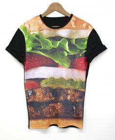 Burger Black All Over T Shirt