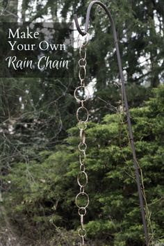 Make your own rain chain with simple items from an office supply or dollar store. This decorative craft will look wonderful in the garden too.