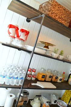 Super Easy Industrial Shelving DIY [#LowesCreator] -- Tatertots and Jello  #DIY