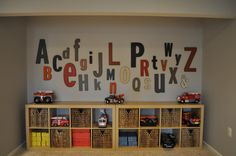 Playroom, boys playroom, alphabet wall letters, gray and orange decor    Project by JWS Interiors/Affordable Luxury blog   www.jws-interiors.com
