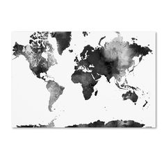 This ready to hang, gallery-wrapped art piece features a black and white painted map of the world. Born in Scotland and now residing in Hong Kong, Marlene Watson has been painting her way through life