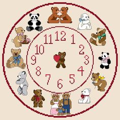 A personal favourite from my Etsy shop https://www.etsy.com/uk/listing/232579110/teddy-bear-2-themed-cross-stitch-clock