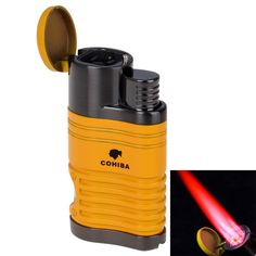 New COHIBA Fashion High-Grade Windproof Lighter Torch Jet Flame Refillable Inflatable Four Flame Cigar Lighter Cigarette Lighter Cohiba Cigars, Cigar Lighters, Cigar Accessories, Gas Lights, Torch Light, Mens Gear, Cigarette Case, Household, Best Gifts