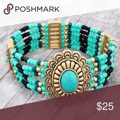 """Turquoise Beaded Boho Stretch Bracelet This bracelet will add a colorful flair to even the simplest outfits!  Matte Goldtone Faux Turquoise Stone and Beads 1.5"""" Pendant Comfort Stretch Band No Closure Lead Compliant Jewelry Bracelets"""
