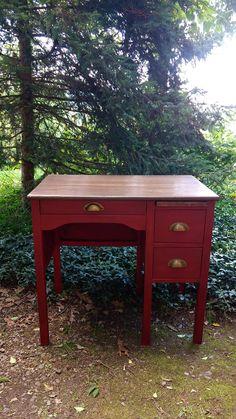Vintage Childs Desk / Vintage Desk With Chair / Red Desk / #ad