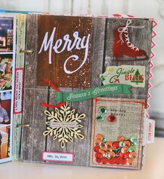 What inspires me: the newprint backed confetti pocket with the bright red stitching- December Daily - Day 12 by MarieL at Scrapbook Journal, Mini Scrapbook Albums, Scrapbook Paper Crafts, Journal Cards, Scrapbook Pages, Couple Scrapbook, Friend Scrapbook, Journal Ideas, Christmas Mini Albums