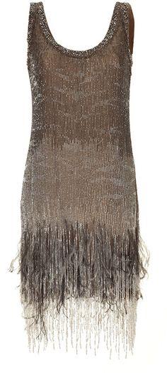 Roberto Cavalli Topaz Beaded Feather Fringe Dress