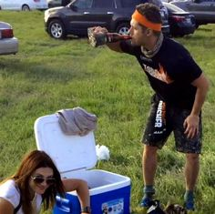 Jensen (drinking out of a shoe!) and Danneel at Tough Mudder 2015