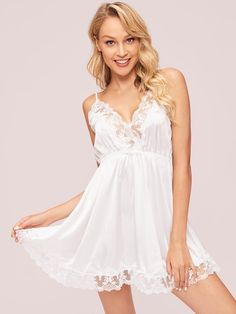 Product name: Contrast Lace Satin Cami Dress at SHEIN, Category: Sexy Lingerie Lingerie Models, Lingerie Set, Women Lingerie, Satin Lingerie, White Lingerie, Pretty Lingerie, Satin Cami Dress, Dress P, Bodysuit