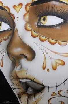 Sugar Skull Painting - Dia De Los Muertos by Christian Chapman Art Dibujos Sugar Skull, Los Muertos Tattoo, Sugar Skull Girl, Sugar Skulls, Day Of The Dead Girl, Chicano Art, Wow Art, Art Graphique, Mexican Art