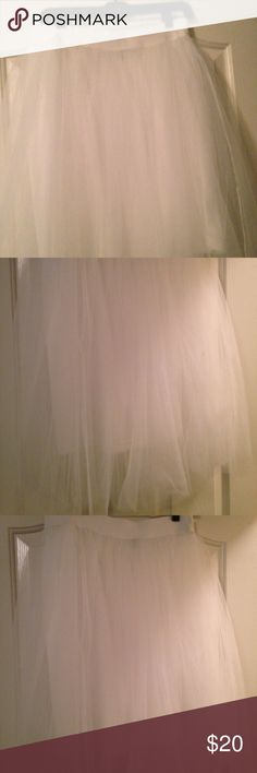 Tulle Skirt White tulle skirt from love culture. Size M but runs a bit big. Great condition, gently used. Has a white slip underneath yet a bit see through. Love Culture Skirts A-Line or Full