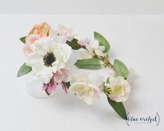 Boho Flower Crown - Silk Flower Crown, Peach Flower Crown, Pink Flower Crown, Anemone Flower Crown, Eucalyptus, Boho, Boho Bridal Shower by blueorchidcreations on Etsy
