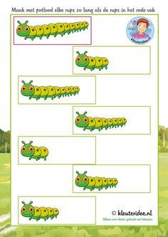 Maak alle rupsen even lang ,thema insecten voor kleuters, kleuteridee, free printable.