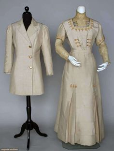 Silk day dress and jacket set, circa 1910s, Edwardian. Beige faille, dress with lace bodice insert and undersleeves, soutache, and blue silk trims, Satsuma buttons on dress and matching hip length jacket.