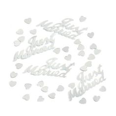 BAG OF SILVER JUST MARRIED TABLE CONFETTI 14G
